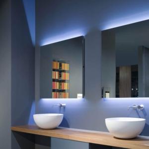 FLASH 117x50cm - Filo lucido - Illuminazione led bianco/blu - Interruttore dx
