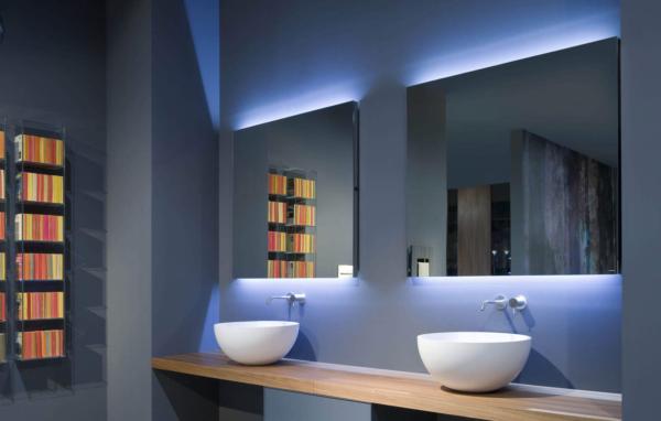 FLASH 216x125cm - Filo lucido - Illuminazine a led bianco/blu - Interruttore dx
